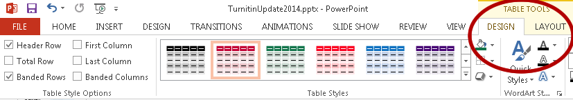 Click Design tool on the right under Table Tools to see Header Row check