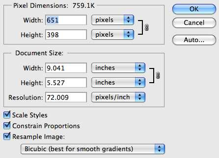 Photoshop Image Size Window with fields for width, height, resolution