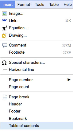 Selecting Table of Contents from the drop-down Insert menu