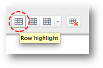 Row highlight button circled