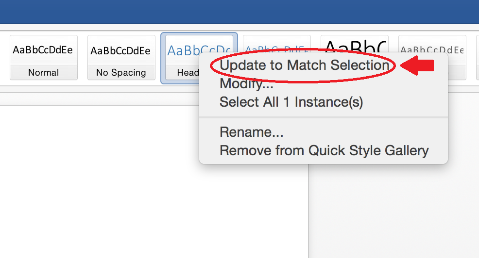 Image of word 2016 for Mac Quick Styles Modification
