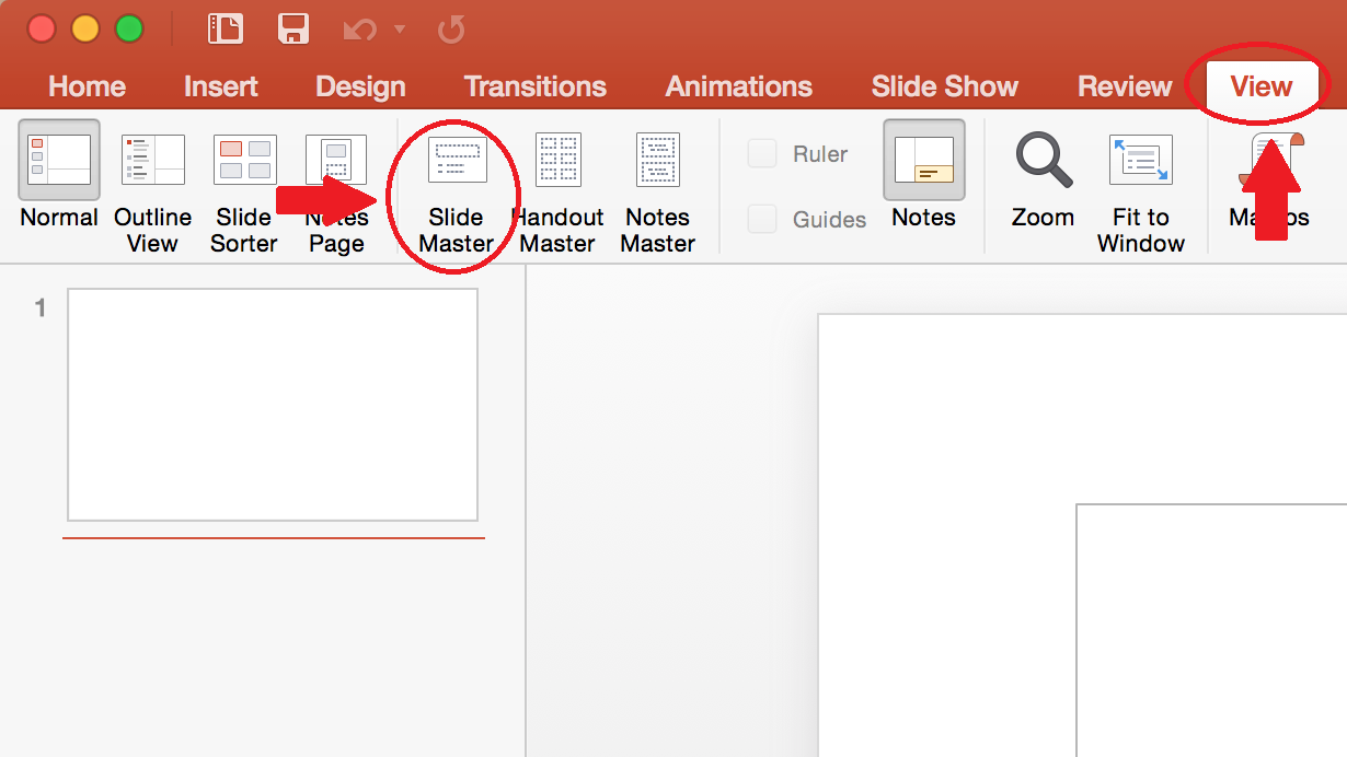 Screen shot highlighting Slide Master button