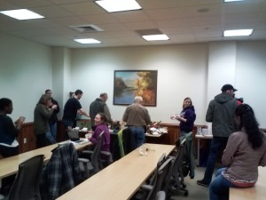 The early crowd at our inaugural Chili-Cook-off in 2014.