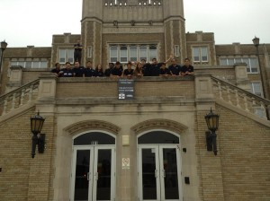 SHPE Penn State members stand in front of Reading High School