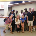 The team at the facility at the University of Abomey Calavi. First row (l to r):  Anthony Aliberti, Kelly Mulcahey, and Emma Hocker.  Standing (l to r): Dr. Flora Chadare, Manan Gill, Dr. Alphonse Quenum, Dr. Yann Madode, Dr. Julien Adounvo, Chris Hersh, and Mike Erdman