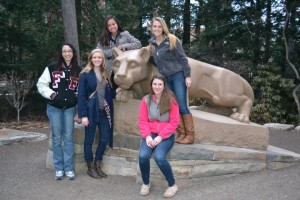A scavenger hunt of the Penn State campus for the high school students isn't complete without a photo with the Nittany Lion Shrine. (Photo credit: Society of Women Engineers)
