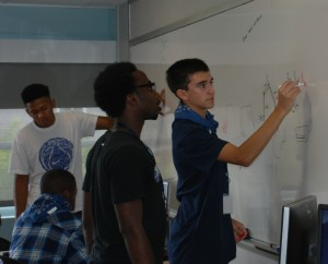 MEPO students plan their project for the design competition.