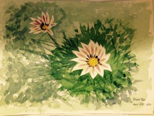 my first serious watercolor painted under the guidance of my friendship partner 90-year-old Ms. Dorothy