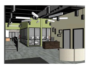 An interior view of the entry area inside the new University of Arkansas Brewer Family Entrepreneurship Hub, which will hold its grand opening on Sept. 29.