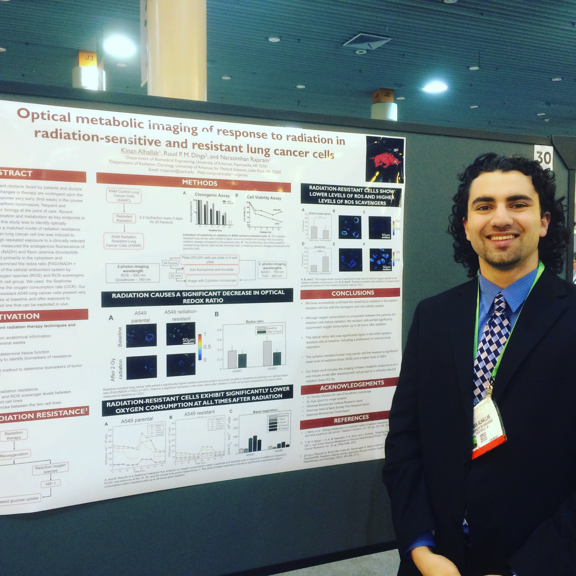 """Alhallak presents his research on """"Optical metabolic imaging of response to radiation in radiation-sensitive and resistant lung cancer cells."""""""